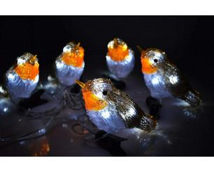 5 LED Clip On Acrylic Robins Lights Garden Outdoor Birds Christmas Decor Xmas