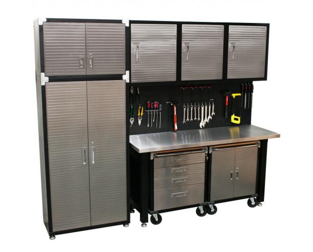 Seville 9 Piece Garage Storage System - Stainless Steel