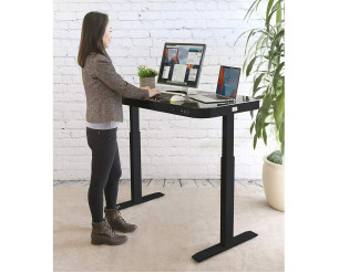 Seville Classics Electric Standing Desk Airlift Glass Top - Grey