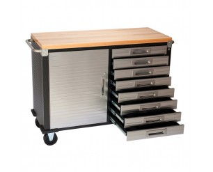 Seville 8 Drawer Rolling Workbench Hardwood Top
