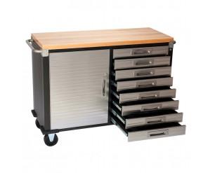 Seville 8 Drawer Rolling Workbench Hardwood Top