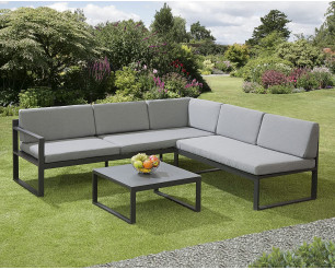 Garden Store Direct Sydney Aluminium Large Corner Lounge Set w/Textured Glass Coffee Table. Convertable Into Sunlounger.