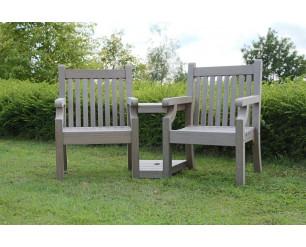 Winawood Sandwick Garden Benches - Love / Conversation Seat - Stone Grey