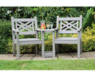Winawood Speyside Garden Benches - Love / Conversation Seat - Stone Grey
