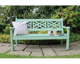 Winawood Speyside Garden Benches - 3 Seat Bench - Duck Egg Green