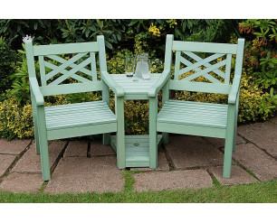 Winawood Speyside Garden Benches - Love / Conversation Seat - Duck Egg Green