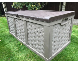 Plastic Garden Storage Box XXL Size 634 Litres Waterproof Sit On Lid Piston Lift Mocha and Brown